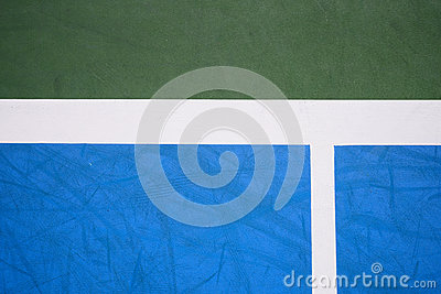 Blue and green tennis court surface