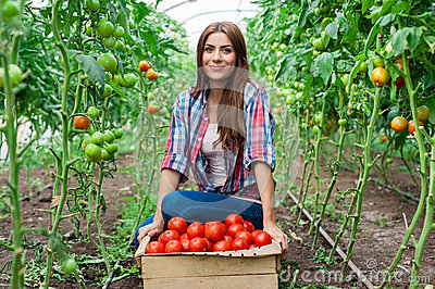 Young smiling agriculture women worker