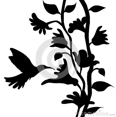 Hummingbird and flowers silhouette- vector