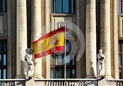Flag of spain, from a neoclassic building, madrid