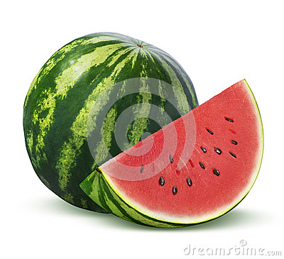 Whole watermelon and slice on white background