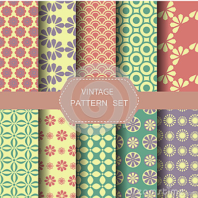 Abstract vintage pattern set, vector