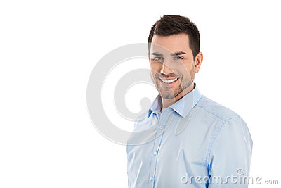 Portrait: Isolated handsome smiling business man over white.