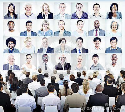People Sitting with Set of Business People's Faces