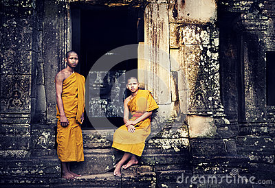 Two Contemplating Monk in Cambodia.