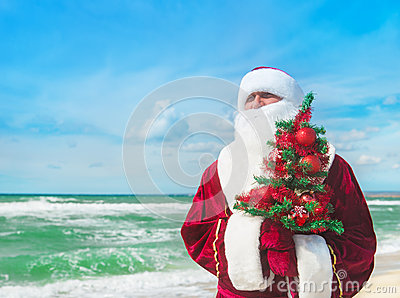 Santa Claus with decorated christmas tree on tropical sea beach