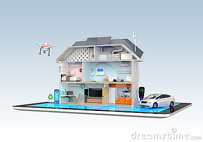 Smart house with energy efficient appliances
