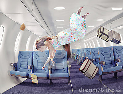 stock image of the girl in an airplane