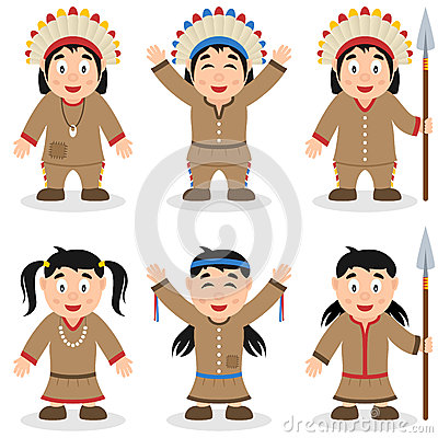 Thanksgiving Day Native Characters Set