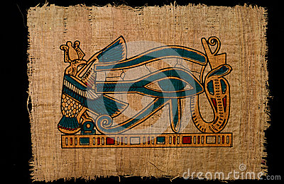 Horus ancient eye on papyrus paper