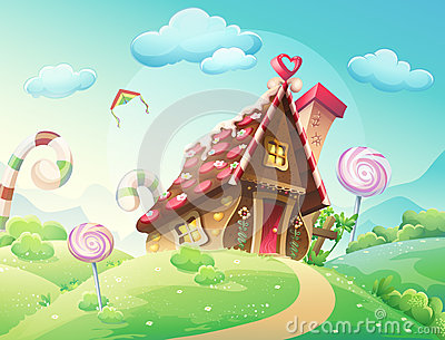 Sweet house of cookies and candy on a background of meadows and growing caramels.