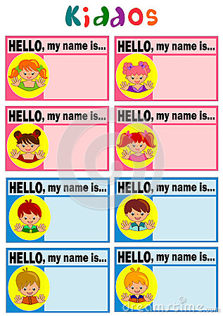 Tag For Kids - Hello my name is tag template