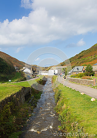River running through Boscastle Cornwall England UK