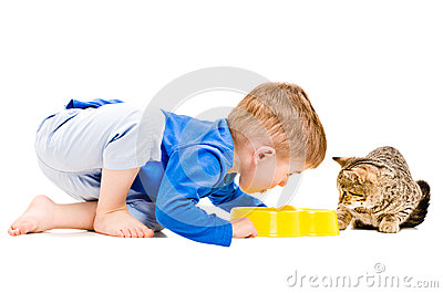 Boy eats a bowl of cat