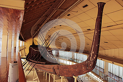 Khufu ship. Full-size vessel from Ancient Egypt