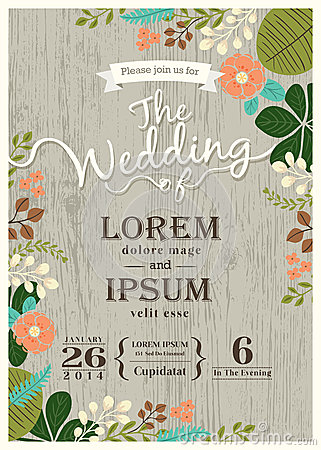 Vintage wedding invitation card with cute flourish background