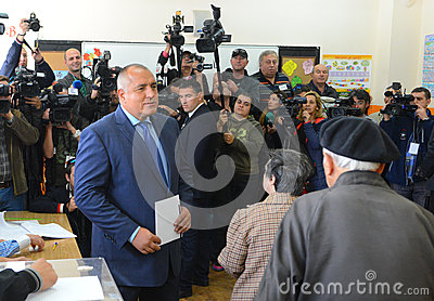 Boiko Borisov, leader centre right GERB vote in Sofia Oct 5, 2014. Bulgaria