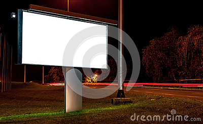 Billboard on highway by night