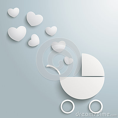 White Paper Baby Buggy Hearts Dust