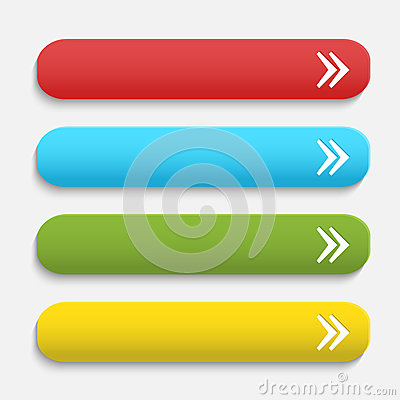 Vector realistic Matted color Web buttons with
