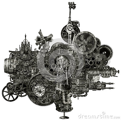 Steampunk Industrial Manufacturing Machine Isolated