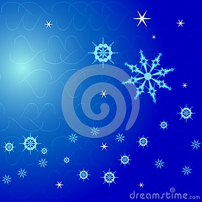 Christmas Background, snowflakes on blue