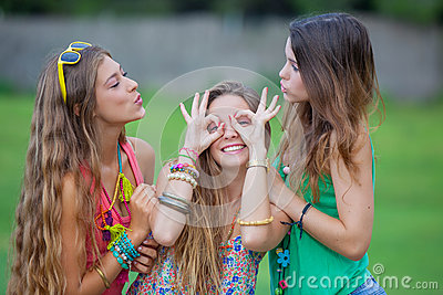 Teen girls goofing