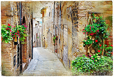 Charming streets of medieval towns, Spello ,Italy.