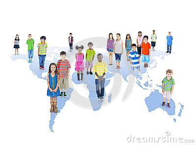 Multiethnic Group of Children with Global Education Concept
