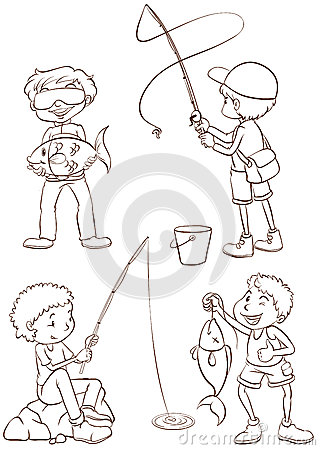 Plain sketches of the boys fishing
