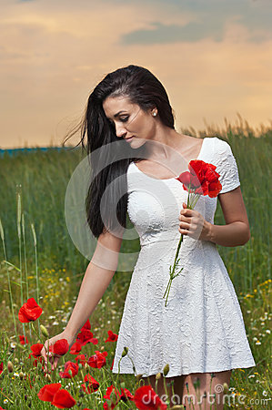 Young girl picking fresh poppies with cloudy sky in background. Portrait of beautiful brunette woman in a field full of poppies