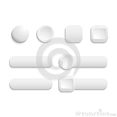 Vector  realistic Matted white color Web  buttons
