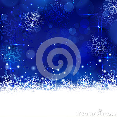 Blue winter, Christmas background with snowflakes, stars and shi