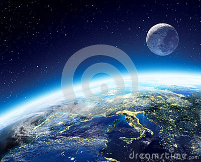 Earth and moon view from space at night