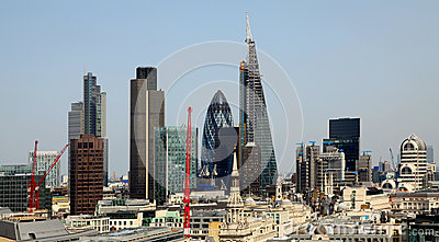 City of London one of the leading centres of global finance.This view includes Tower 42 Gherkin,Willis Building, Stock Exchange T