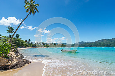 Boat on turquoise Caribbean sea, Playa Rincon, Dominican Republic, vacation, holidays, palm trees, beach