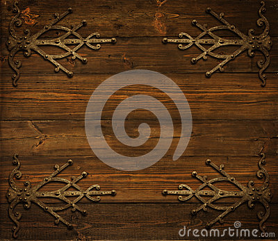 Christmas Wooden Background Decorated By Grunge Metal Ornament