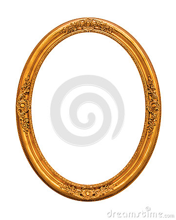 Ornamented gold plated empty picture frame Isolated on white