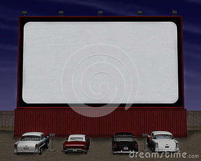 Retro Fifties Movie Theater Drive In Illustration