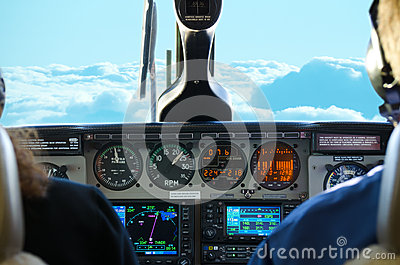 Plane cockpit view while in flight