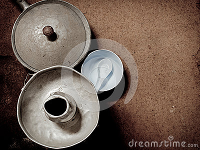 Old and dirty aluminum ware with grunge