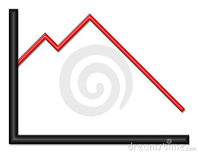 Black and Red Shiny Graph Heading Down