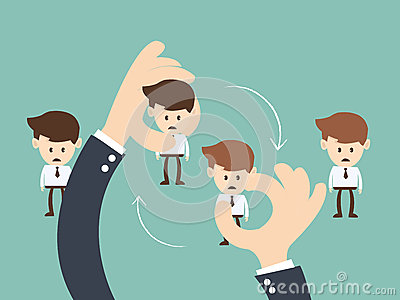 Job Rotation concept, Business hand hold businessman Job rotation