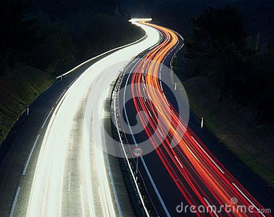 Speed Traffic - light trails on motorway highway at night, A8