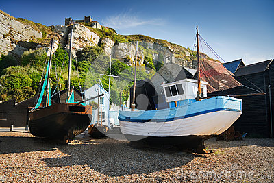Harbour in Hastings, UK.