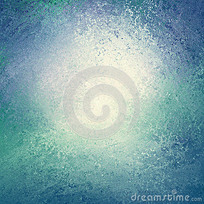 Blue and green background with white center and sponged vintage grunge background texture that looks like water or waves border