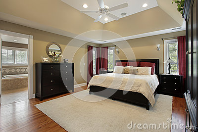 Master bedroom with bath view