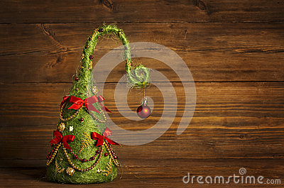 Christmas Tree Abstract Decoration, Grunge Wooden Background