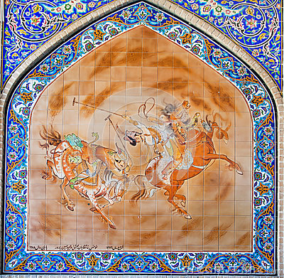Persian painting on colorful tile with riders play polo on square