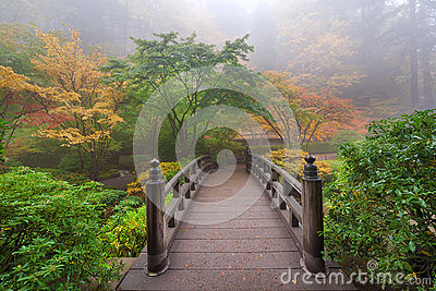 Moon Bridge in Portland Japanese Garden One Colorful Foggy Autumn Morning